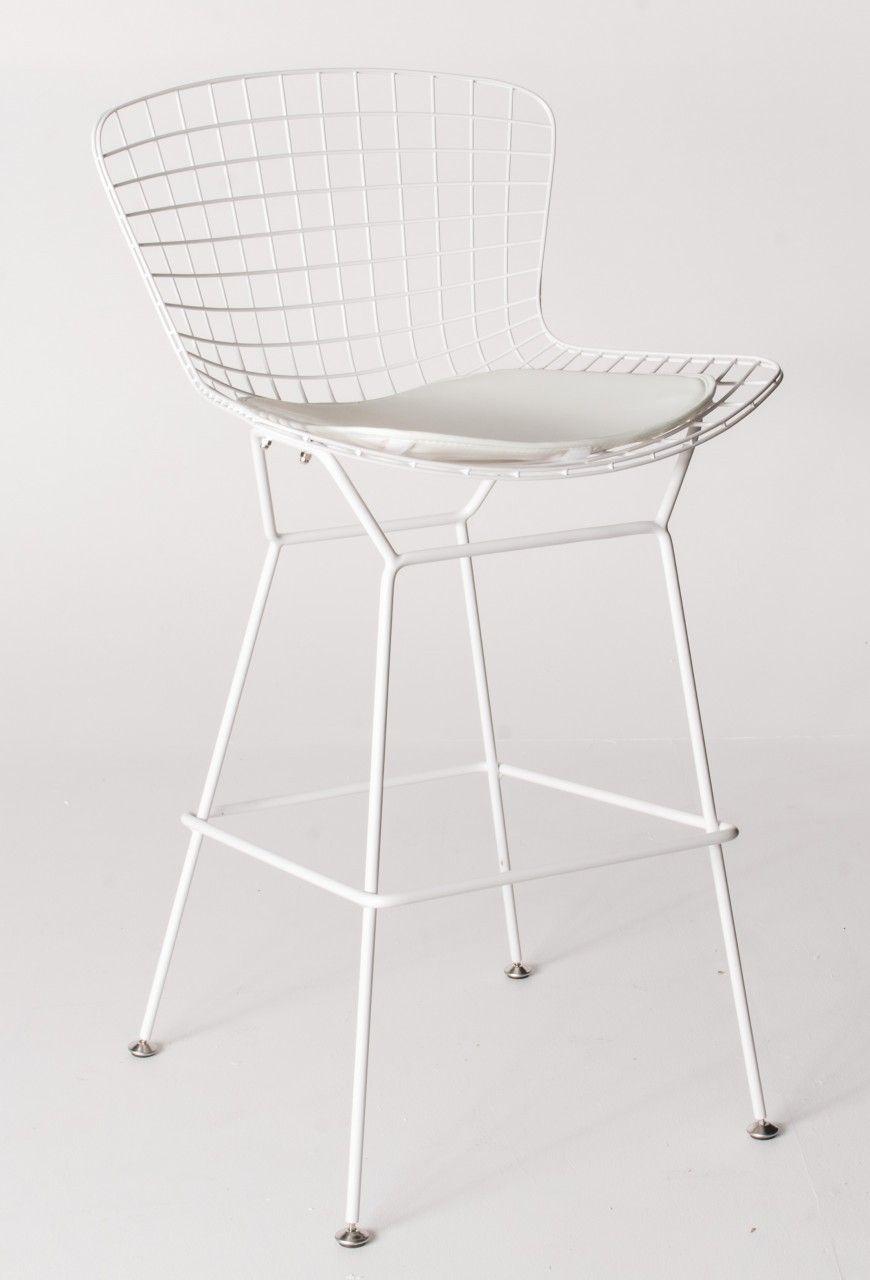 Bertoia diamond chair sheepskin - Milano Republic Furniture Replica Harry Bertoia Wire Bar Stool 71cm White Powdercoat