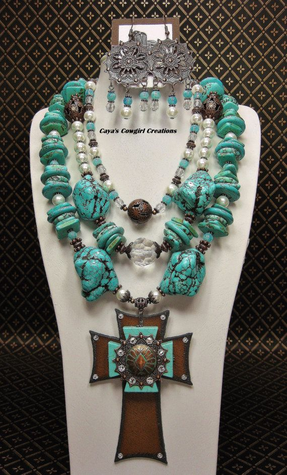 Turquoise Cross Beads Bracelet Charms Necklace Handcrafts Making 1 Strand