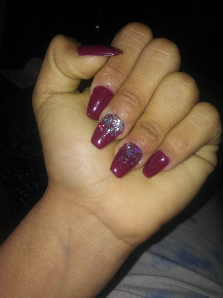 Maroon with silver sparkles acrylic nails | nail ideas | Pinterest
