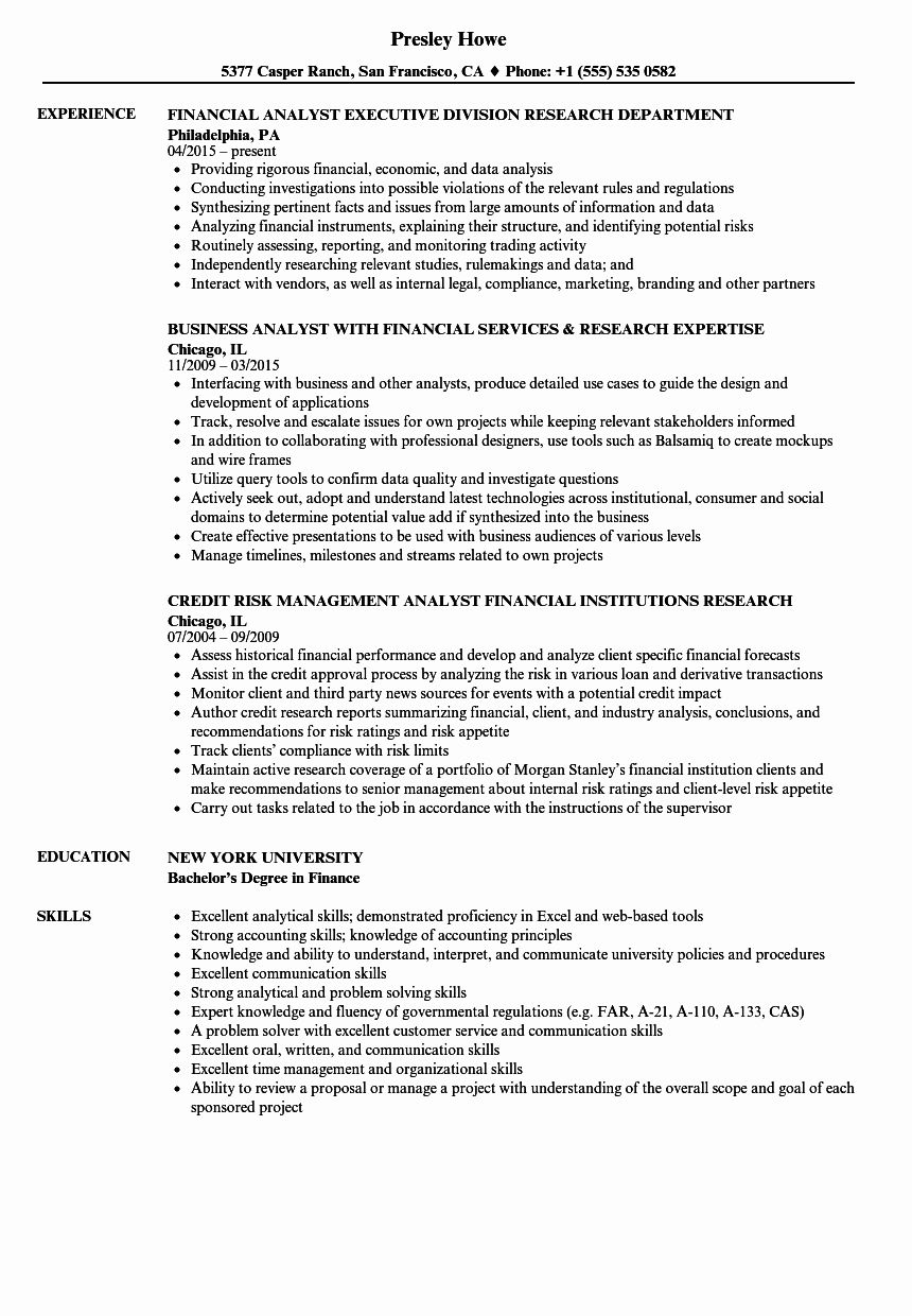 Financial Analyst Resume Examples New 8 Financial Analyst