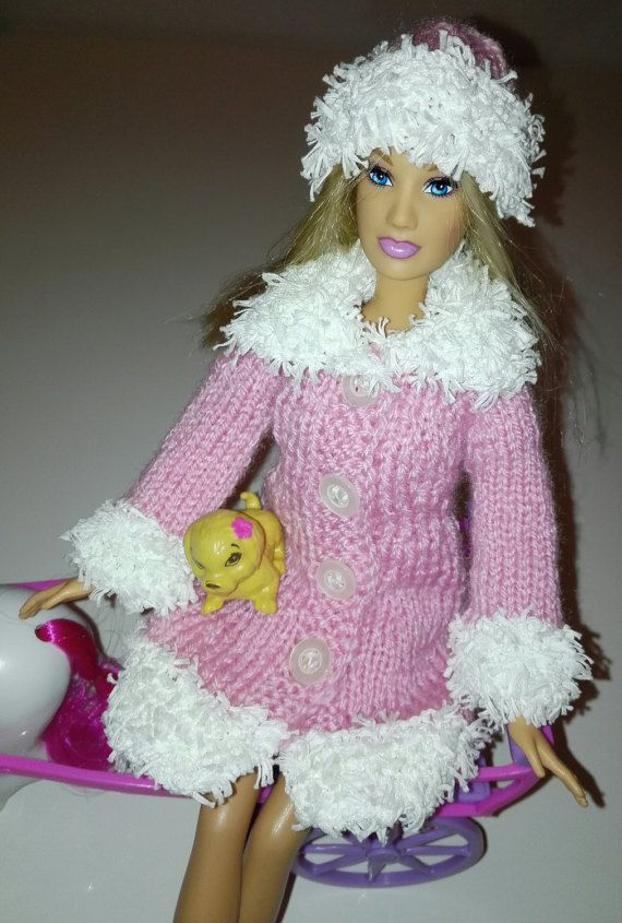 Dolls Barbie winter spring clothing set, mantle scarf hat, headband ...