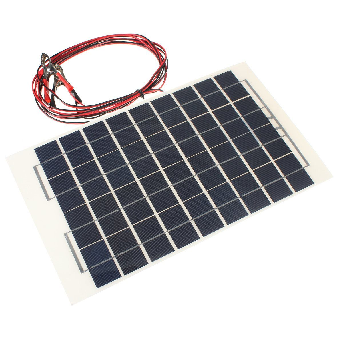 12v 10w Solar Panel Polycrystalline Cells Diy Solar Module Transparent Epoxy Resin With Block Diode 2 Alligator Clips 4m Cable