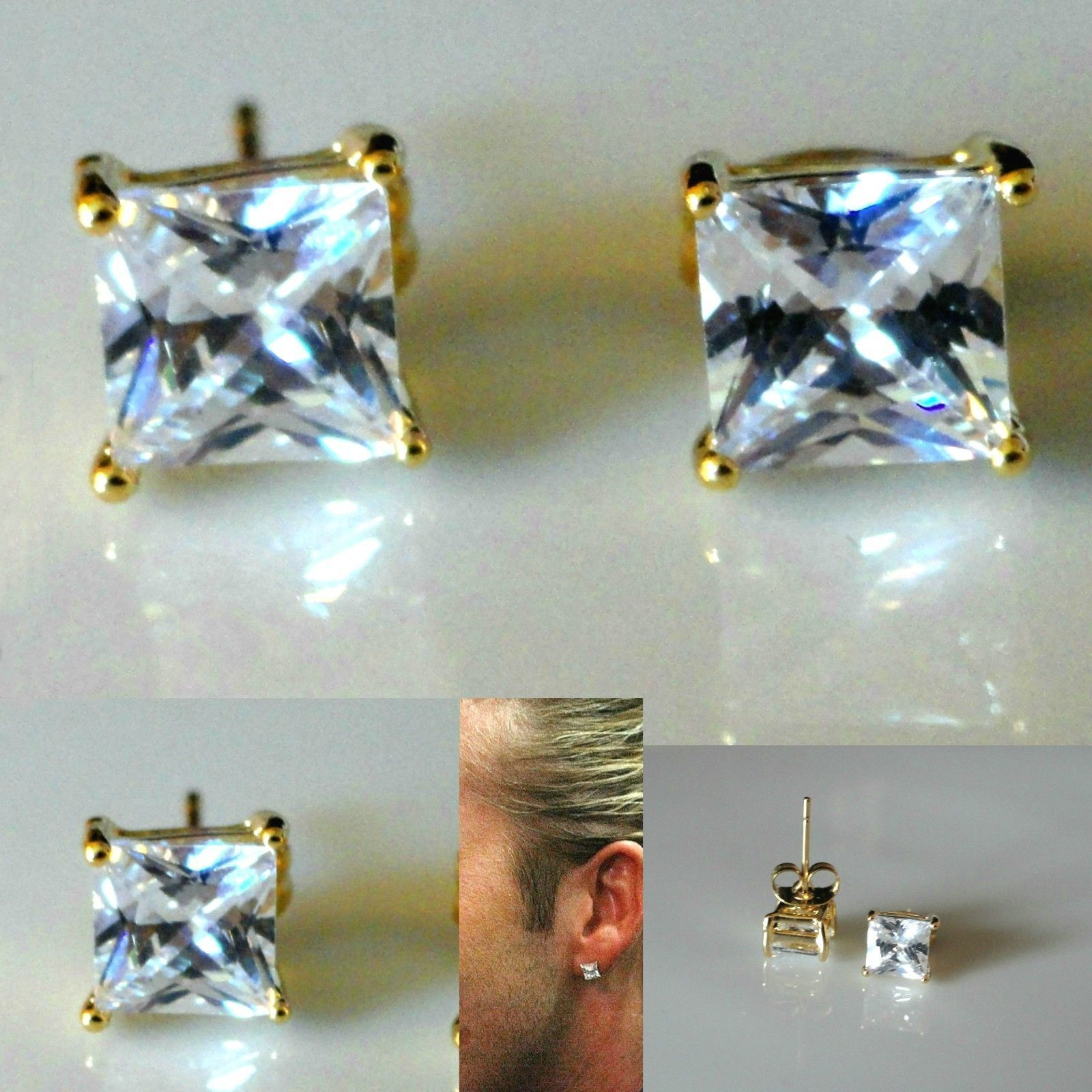 6 99 Gbp Men S Square 6mm Simulated Diamond Yellow Gold Filled Stud Earrings Uk
