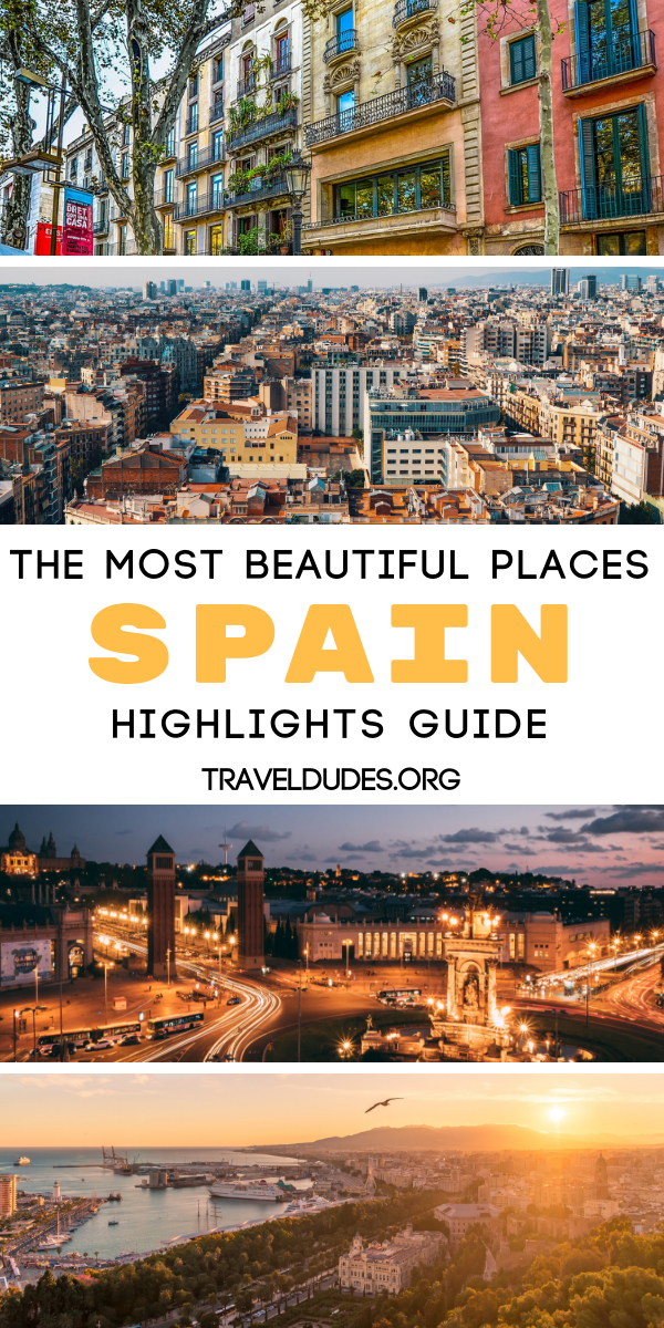 30 beautiful places to visit in Spain that you have to experience at least one in your life. Top places to visit on your itinerary as well as tips for traveling to Spain's most popular cities from Barcelona to Madrid to Valencia. This bucket list travel guide includes things to do in each destination, top beaches, where to stay, and more.| Travel Dudes Travel Community #Travel #TravelTips #TravelGuide #Wanderlust #BucketList #Spain #Madrid #Barcelona #Valencia