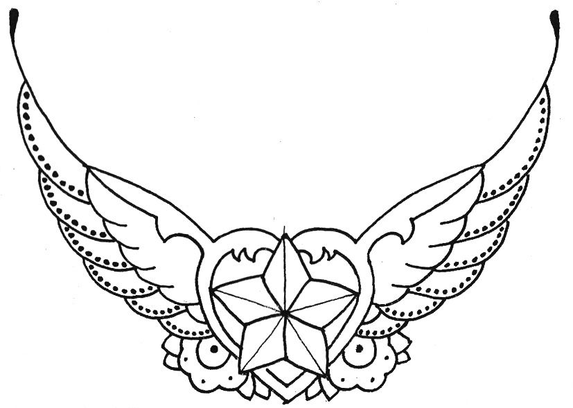 Drawings of Hearts Tattoo | Hearts with wings and stars by ...