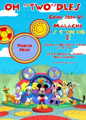 Mickey Mouse Clubhouse Birthday Invitation Mickey Mouse Party