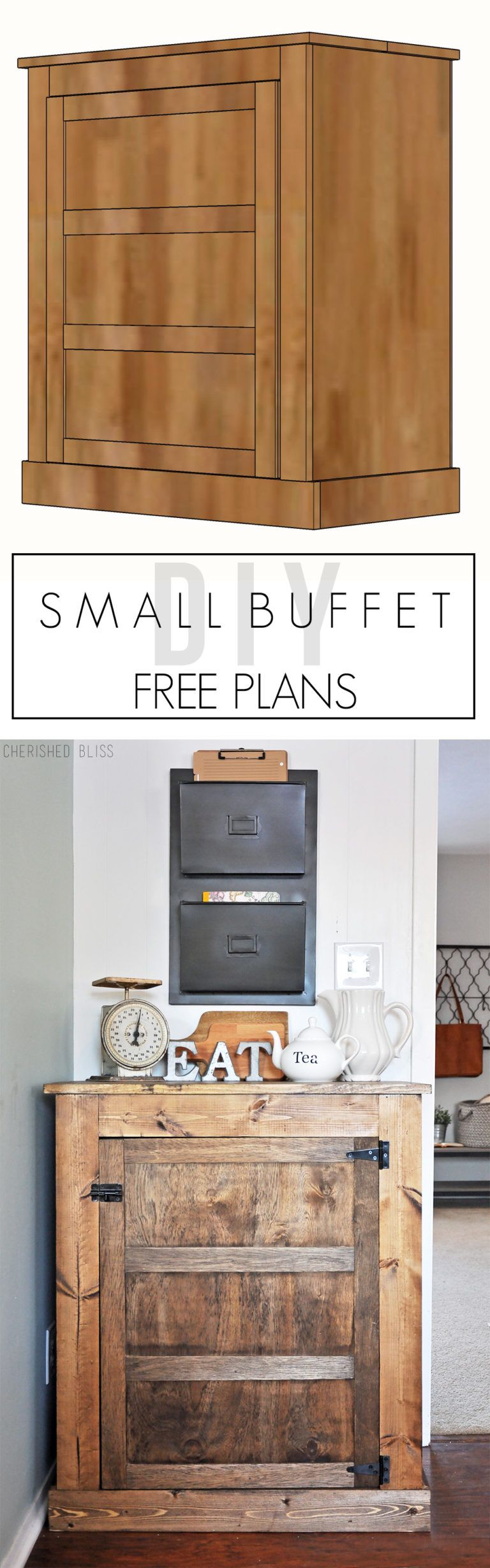 How to Build a Small Farmhouse Buffet | Pinterest | Selbermachen ...