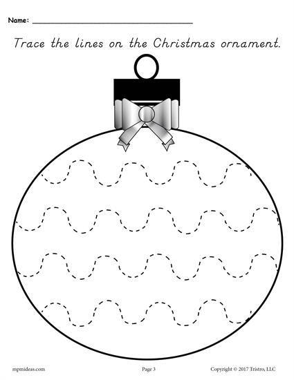 Printable Christmas Ornament Line Tracing Worksheets! Preschool Christmas  Worksheets, Christmas Worksheets Kindergarten, Christmas Worksheets