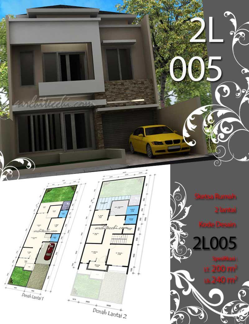 sketsa rumah 2 lantai desain rumah lebar 8 meter desain
