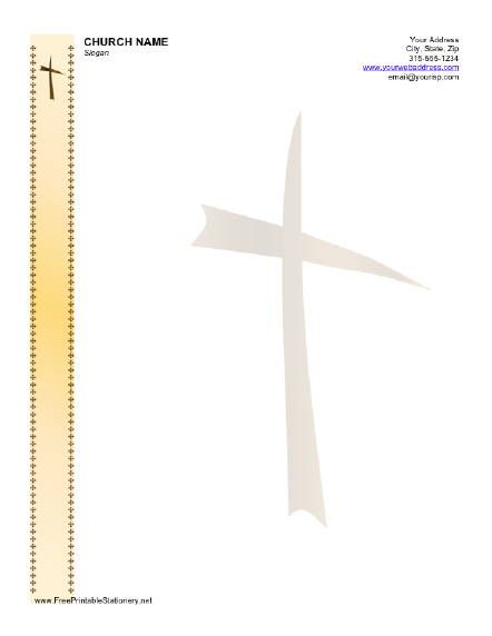 This stationery with a cross design is appropriate for Christian - free letterhead samples