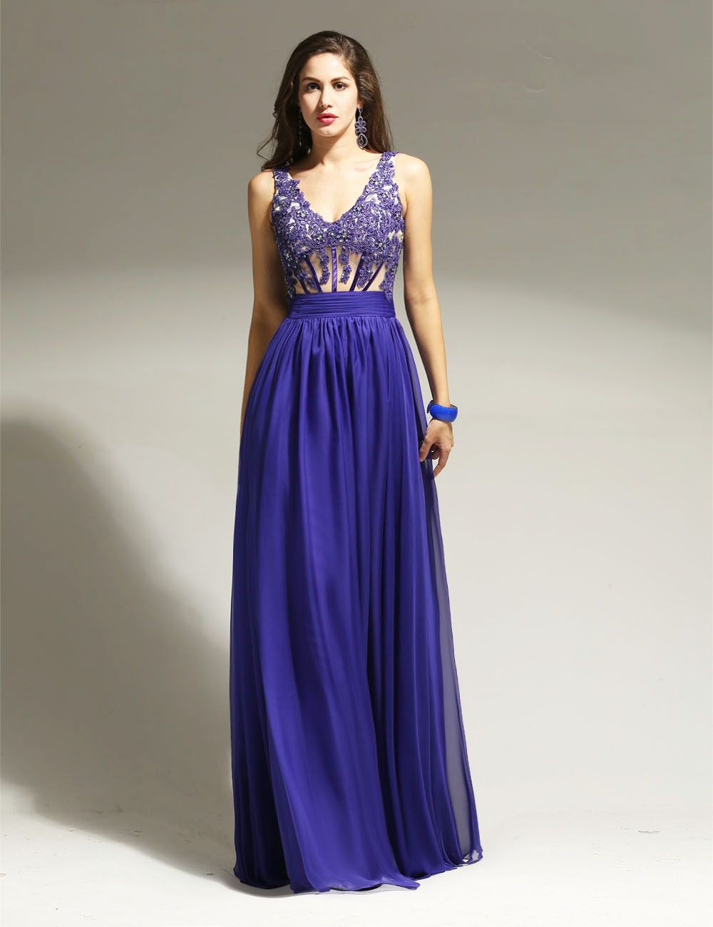 Royal blue wedding dresses plus size  Click to Buy ucuc Party Dresses Ever Pretty Chiffon Vneck Elegant