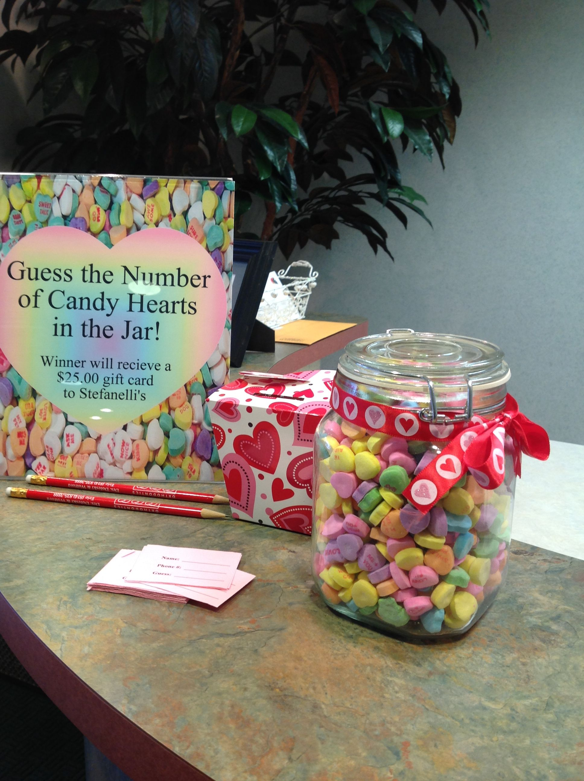 Candy Heart Contest Guess The Number Of Hearts In The Jar Valentines Day Office Valentine Decorations Valentines Day Decorations
