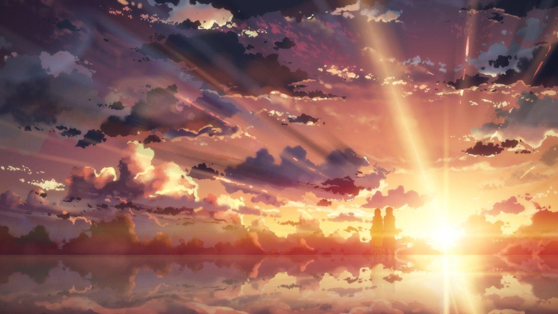 Shirokoformatnye Hd Oboi Anime Pejzazhi Zakat Voda Nebo Oblaka