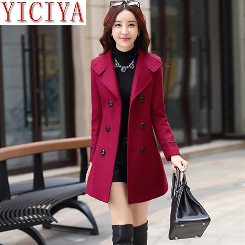 Plus size cashmere coat red slim slimming long long ladies wool warm mixed long coat ladies slim lap