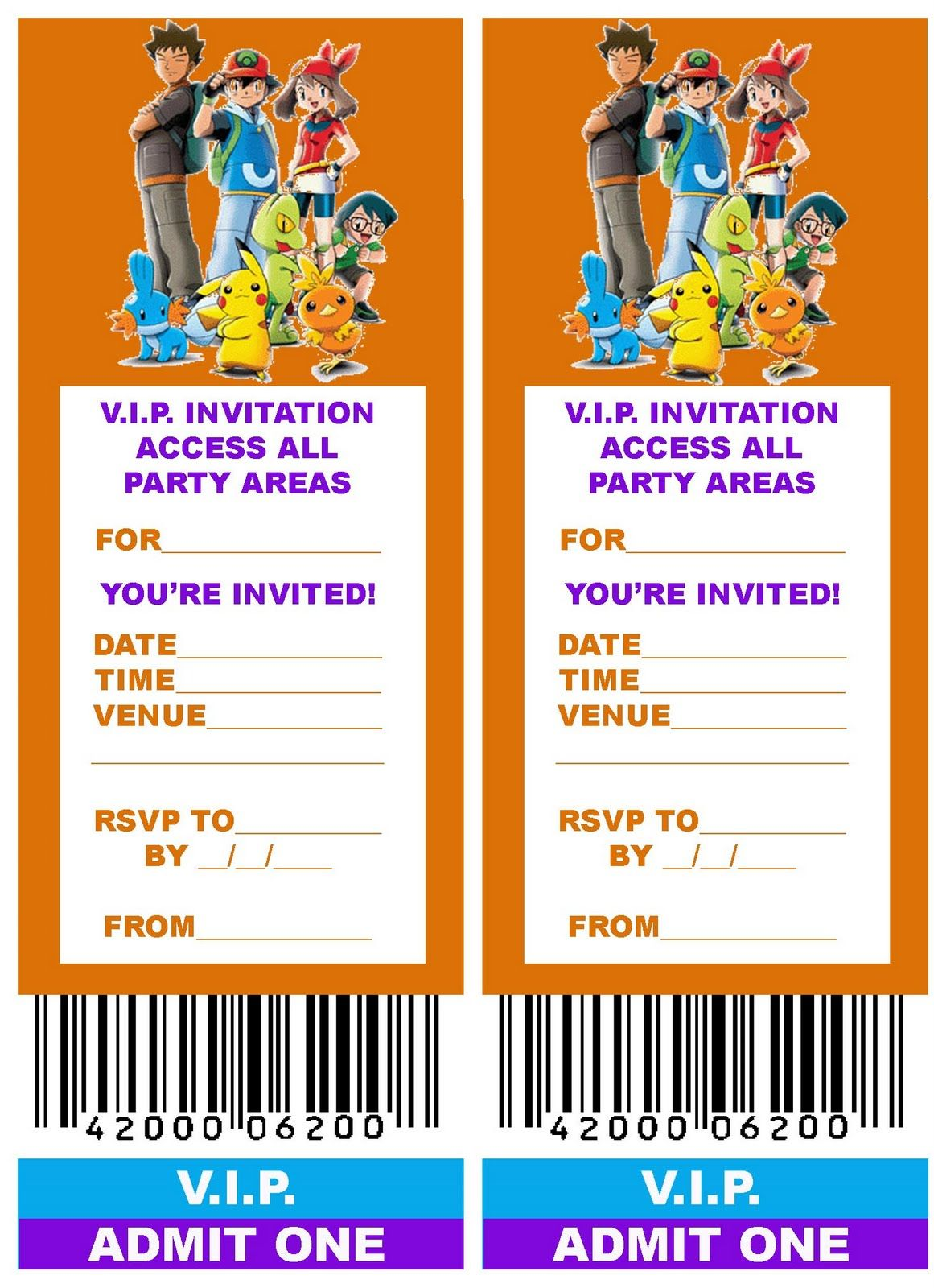 POKEMON COLORING PAGES FREE PRINTABLE VIP TICKET STYLE BIRTHDAY – Ticket Style Birthday Invitations