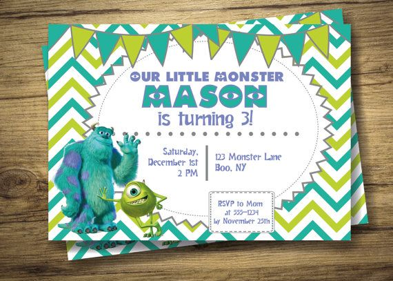 Personalized Monsters Inc Birthday Party Invitation Boys