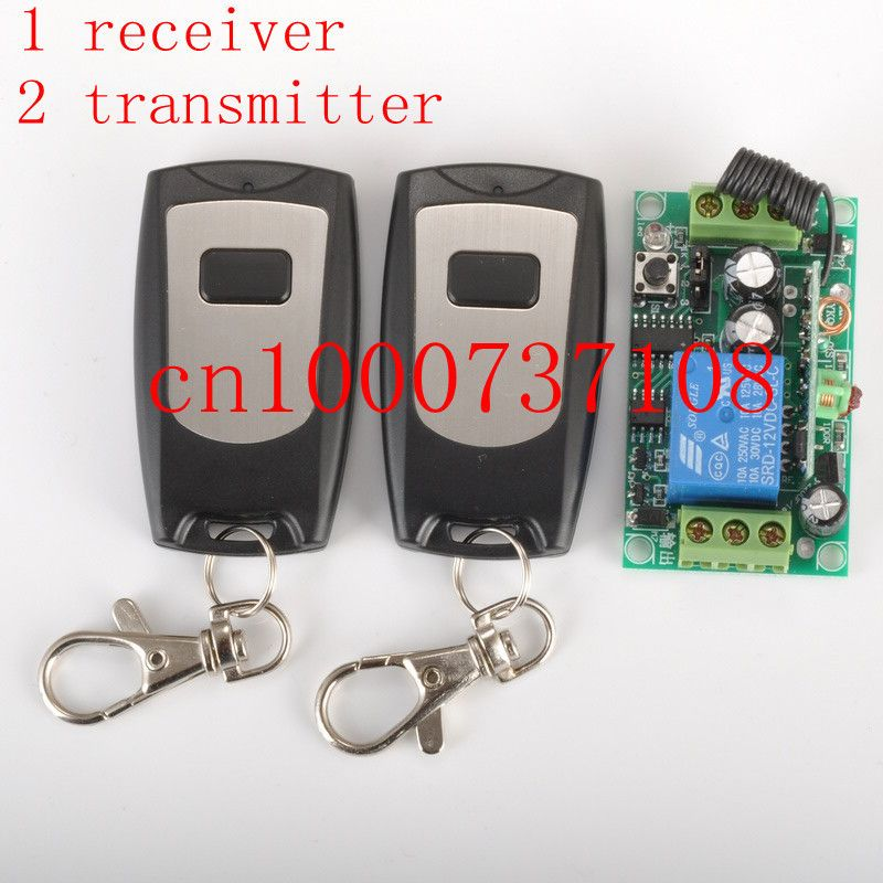 Free Shipping 12v 1ch Wireless Remote Control Switch System Receiver 2 Transmitter Control Light Door Switch Z Wave Transmitter Door Switch Remote Control