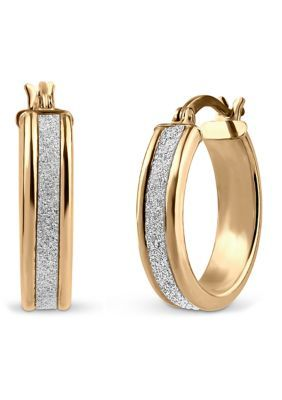 Designs By Helen Andrew Gold Over Sterling Silver Glitter Hoop Earrings. Classic style hoops are enhanced with a sparkling glitter surface on these 18k gold over silver earrings. These beautiful hoops have a click top closure and will add style to any wardrobe.