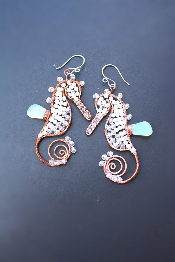 Wire Earrings Seahorse white marine animals