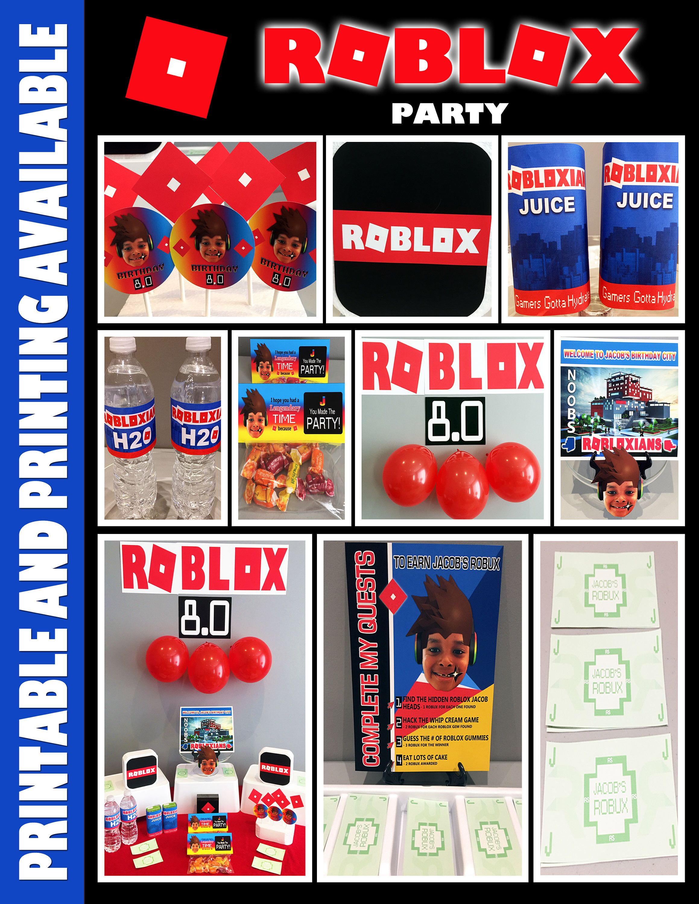 Roblox Themes Download Get Robux By Playing Games A Personal Favorite From My Etsy Shop Https Www Etsy Com Ca Listing 579650975 Roblox Theme Party Birthday Party Set Birthday Party Themes Lego Birthday Party
