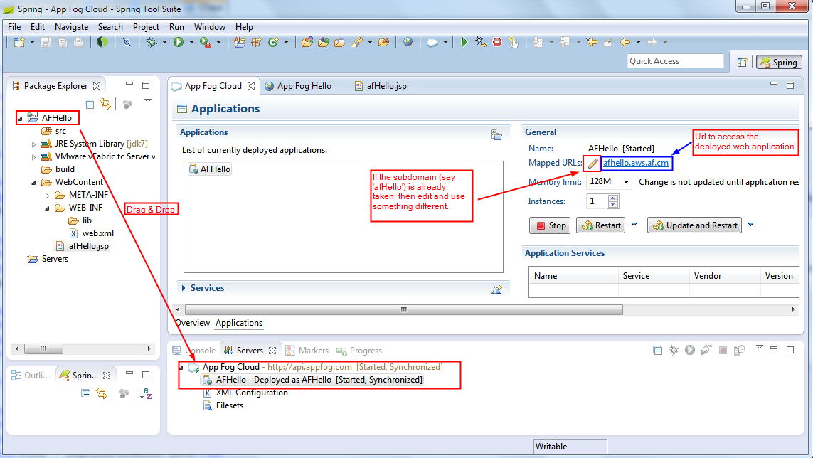 Deploy to AppFog PaaS using Cloud Foundry Integration
