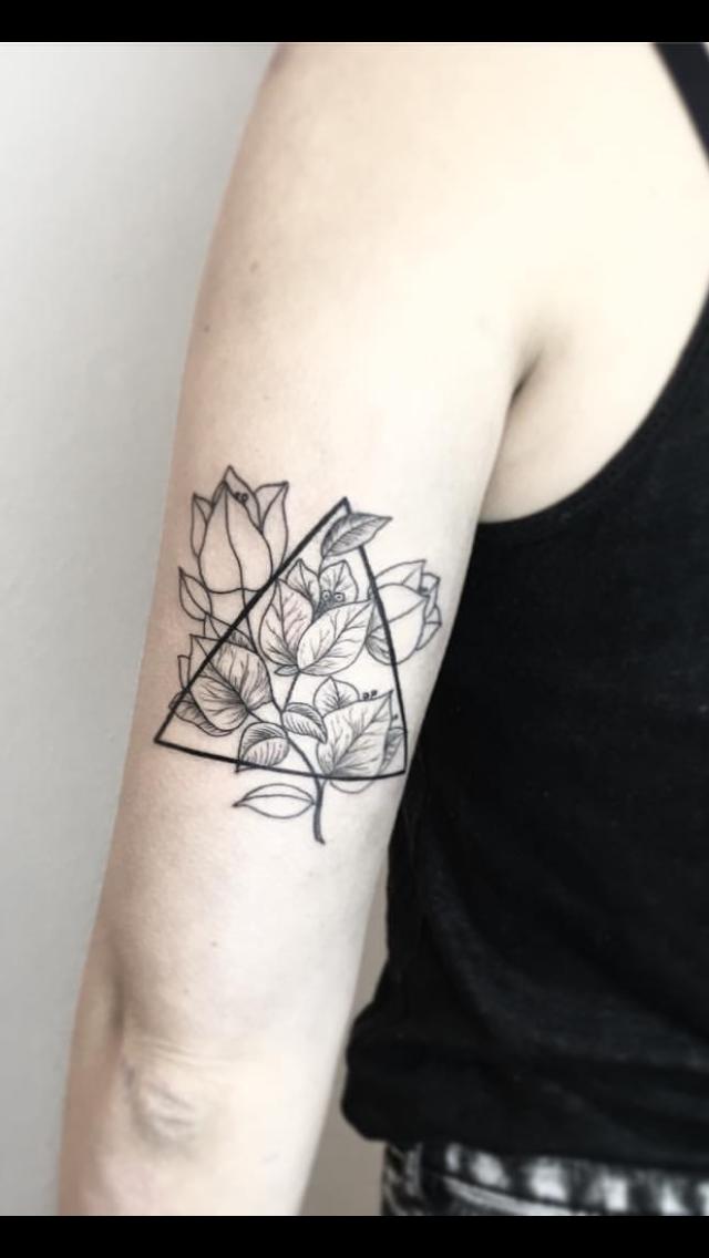 Bougainvillea Tattoo Black White Blackwork Floral Geometric Triangle