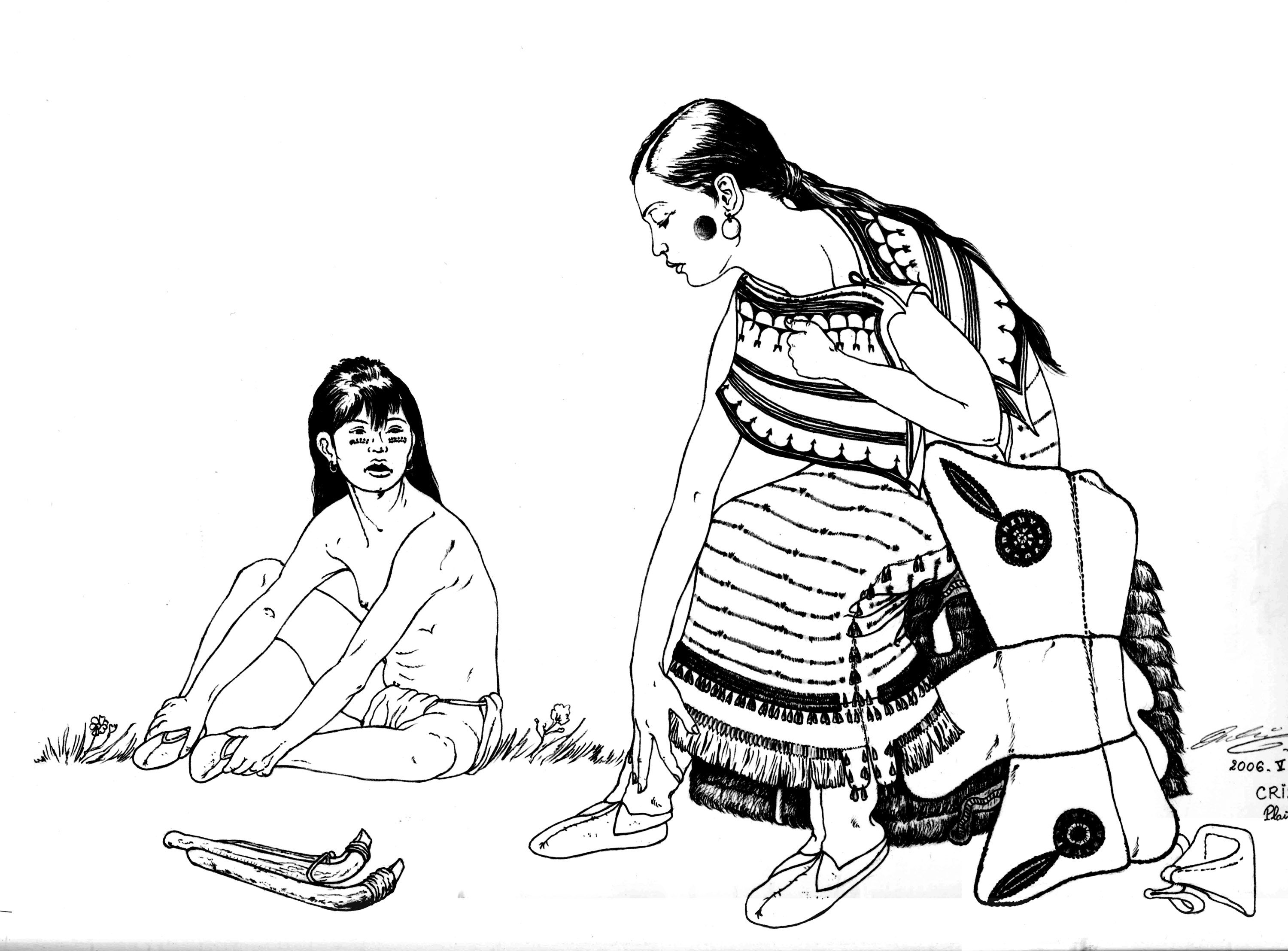 Free coloring page coloring-adult-native-indian-and-child. Indians