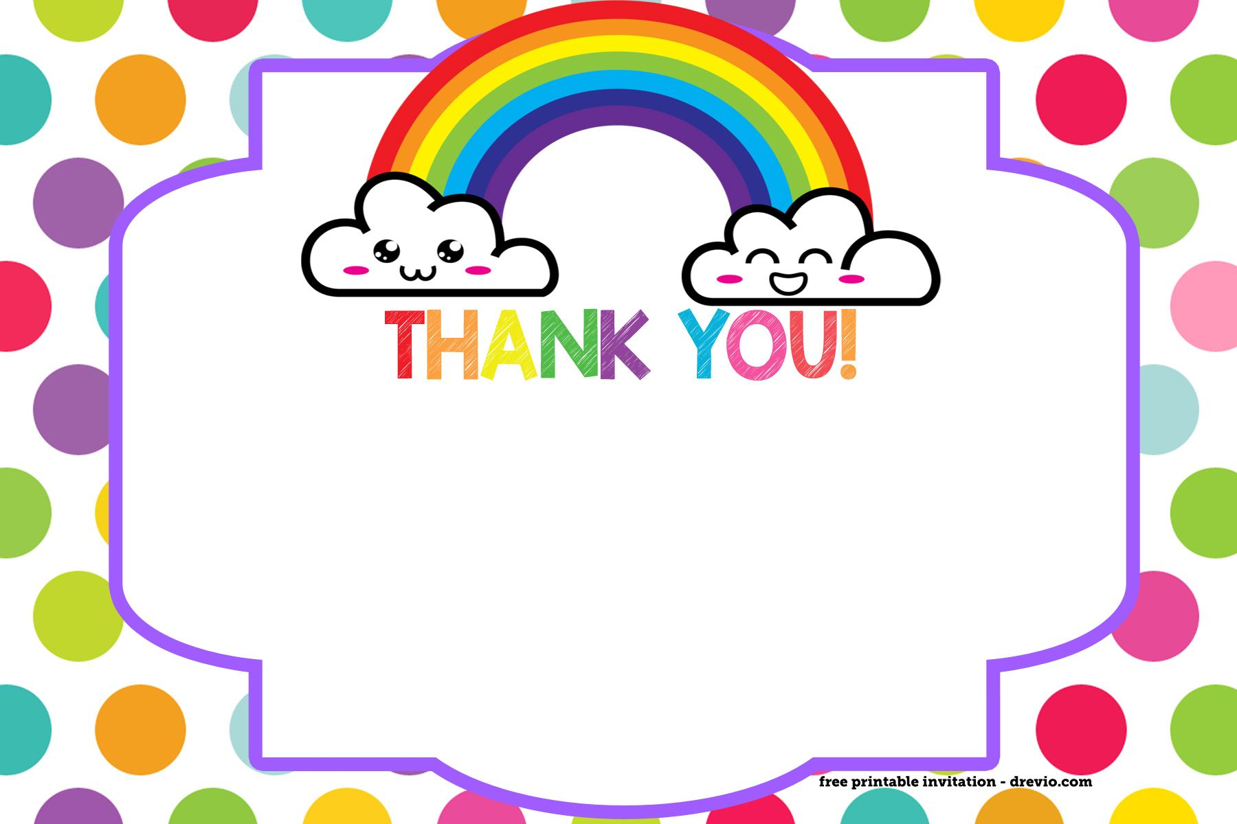 free printable rainbow invitation template thank you card free