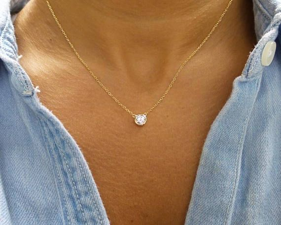 Tiny Diamond Cubic Zirconia Solitaire 18k Gold 18K Rose Gold 925 Sterling Silver Necklace