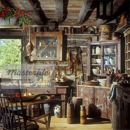 rustic homes and cabins interior shot of primitive rustic kitchen with old corner cupboard - Rustikale Primitive Kchen