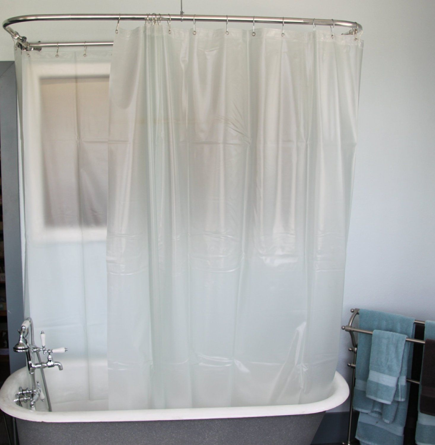 Short Shower Curtain Liner Clawfoot Tub