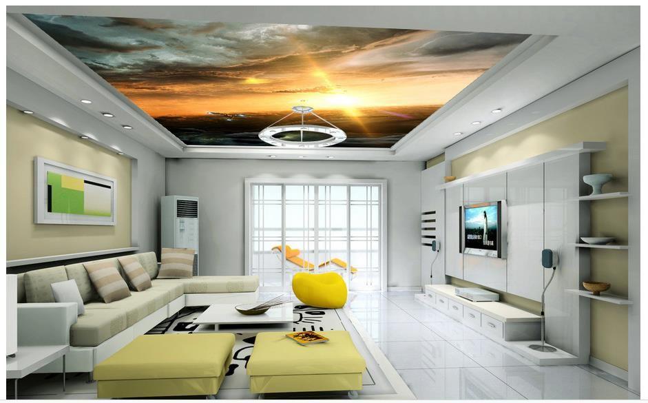Goedkope Aangepaste 3d foto behang 3d plafond behang De slagschip ...