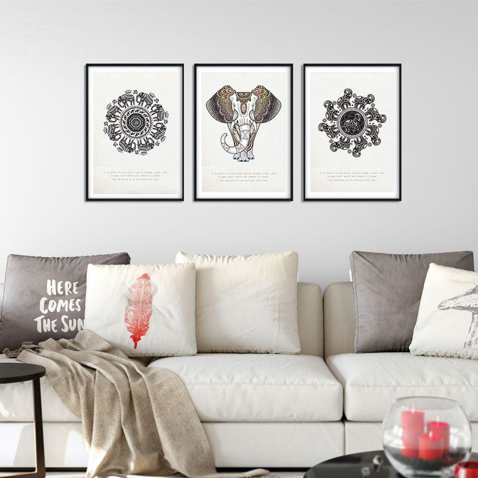 Unframed 3 Panel Black White Elephant Poster Canvas Painting For ...