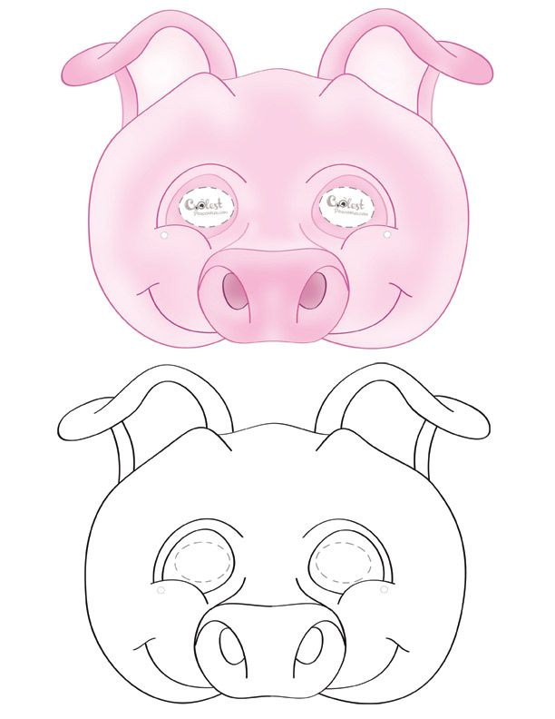 graphic about Printable Pig Mask titled Weve designed a black and white Pig mask and coloured Pig