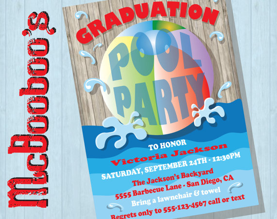 rustic graduation pool party invitations with beach ball products