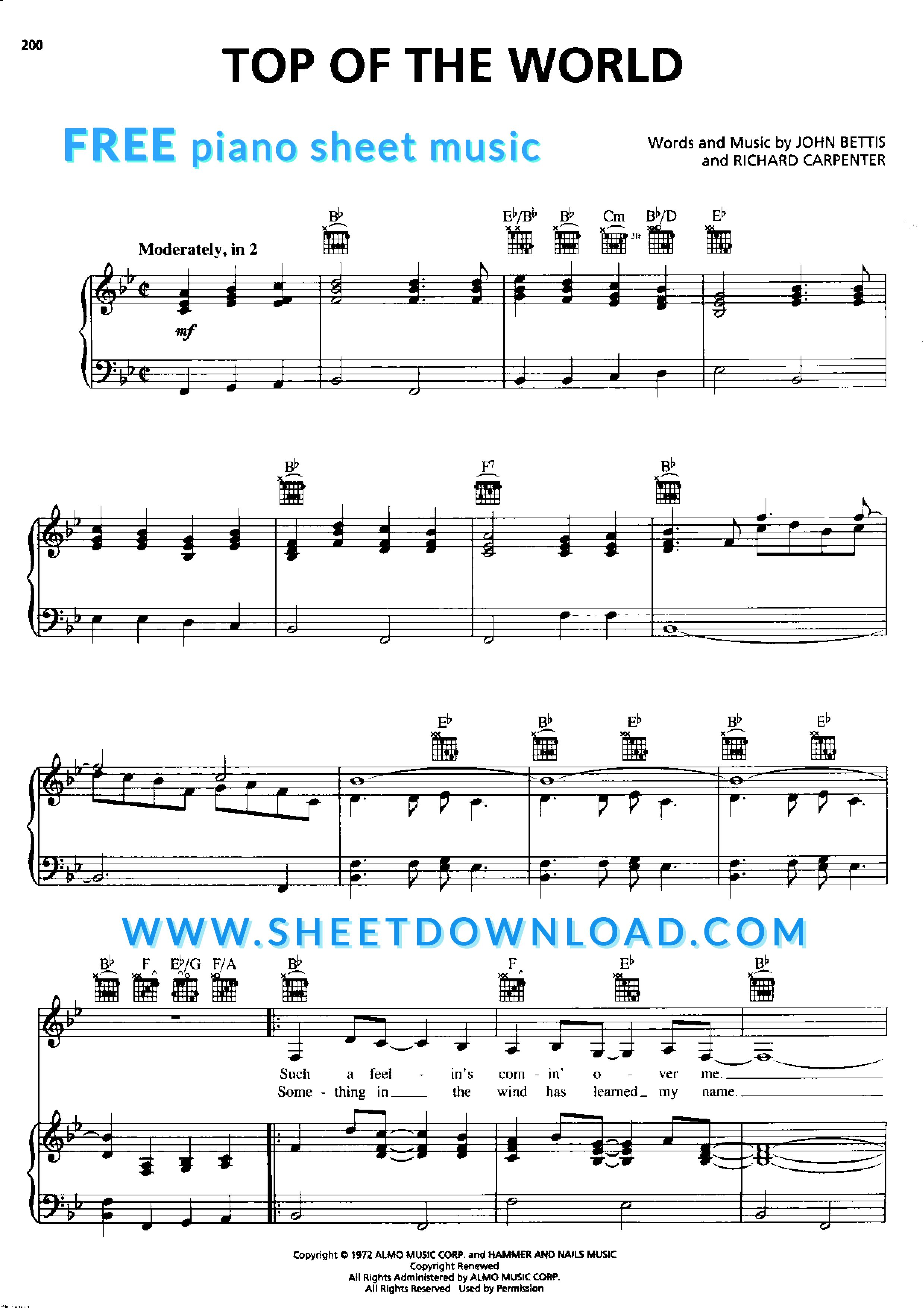 View Download And Print Top Of The World Piano Sheet Music By The