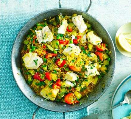 smoked paprika paella with cod peas recipe bbc good food recipes 500 calorie meals healthy eating recipes pinterest