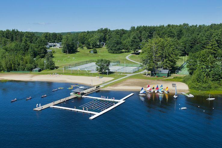 Aerial shot of Tripp Lake Camp, a girls summer camp in
