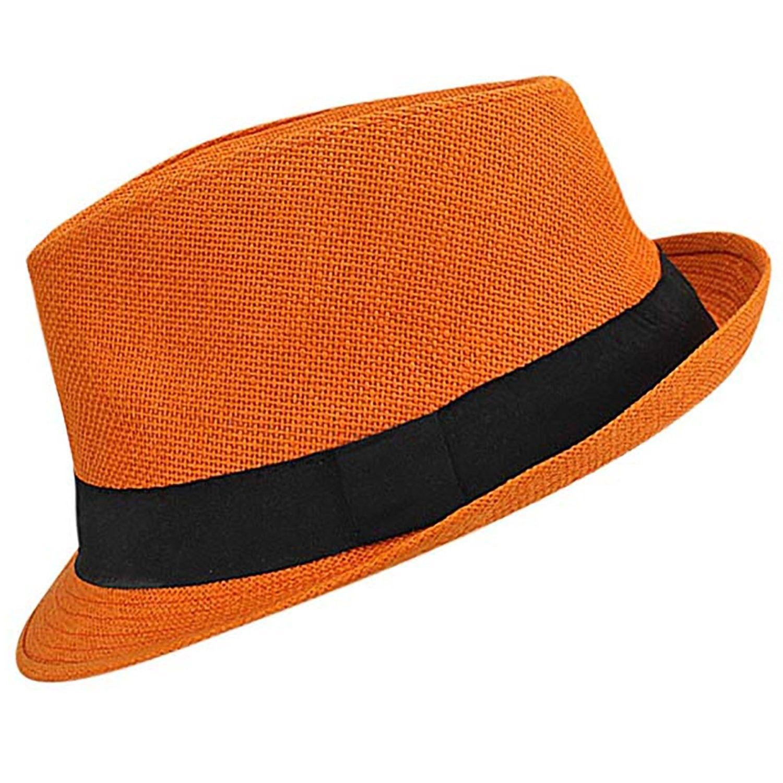 2af7ac3cf64b9 Vibrant Basic Straw Fedora Hat - Orange - CH12FFTLN7B  Hats  Fedoras