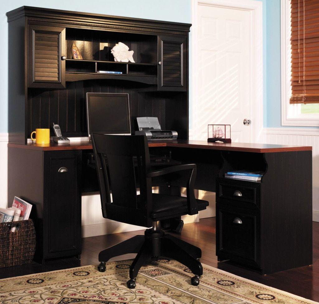 Corner computer desk with hutch in black color more
