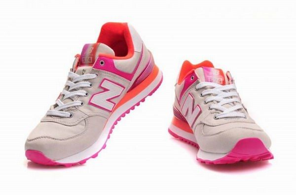 Classic New Balance Alpine Grey with Pink Orange WL574APG