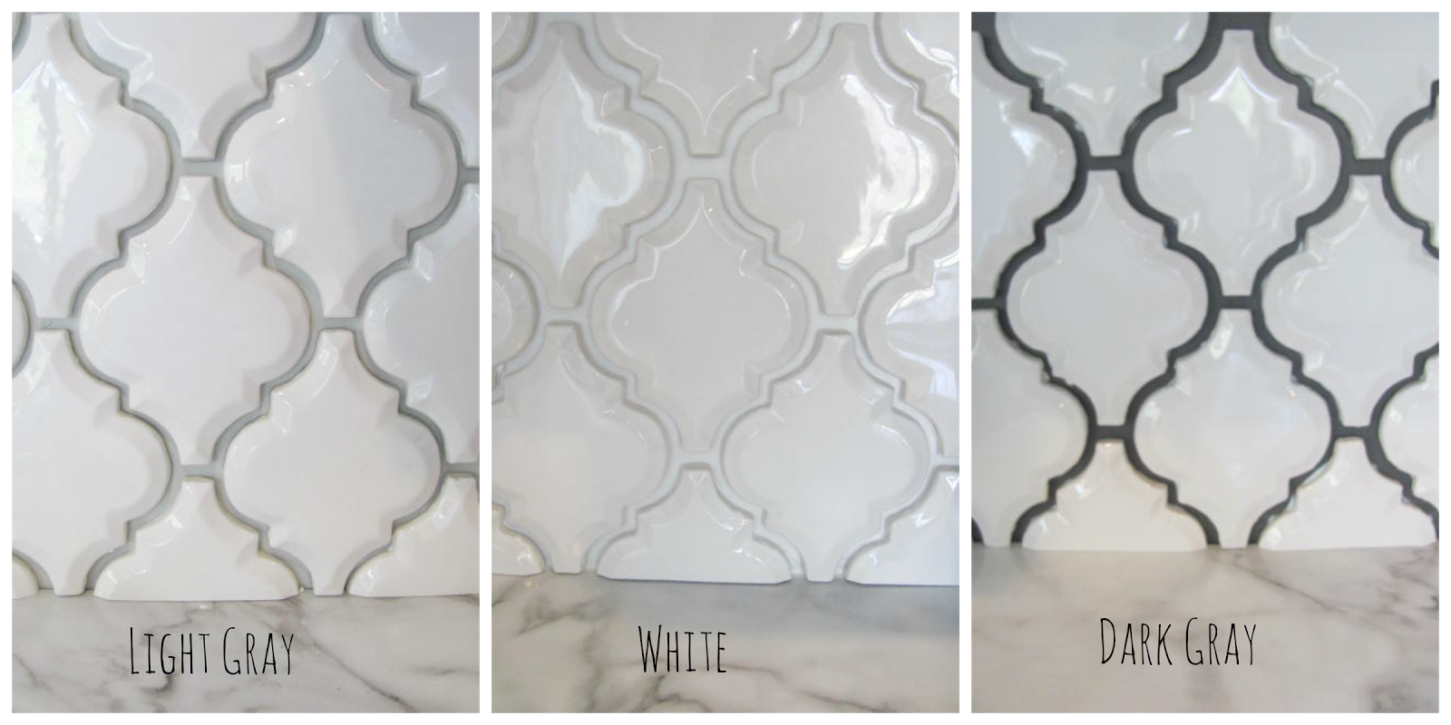Arabesque White Tile With Grey Grout Google Search