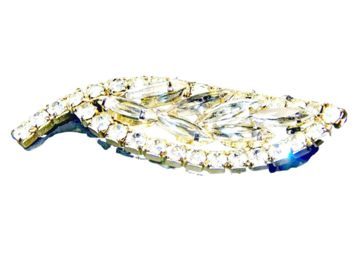 Rhinestone Brooch Clear Round and Navette Vintage Mid Century Bridal Jewelry