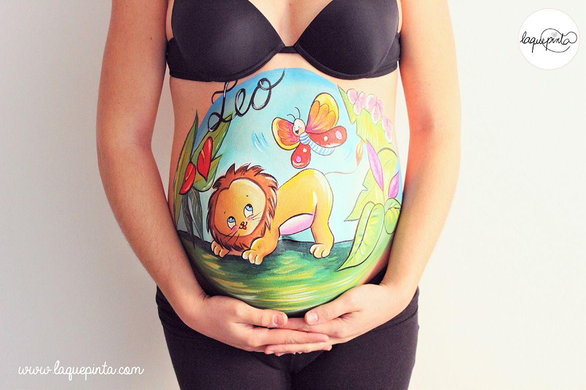 Belly Painting León Bebé Barriga Pintada La Que Pinta Bcn Dibujo Barriga Embarazada Barriga Embarazada Consejos De Fotografía