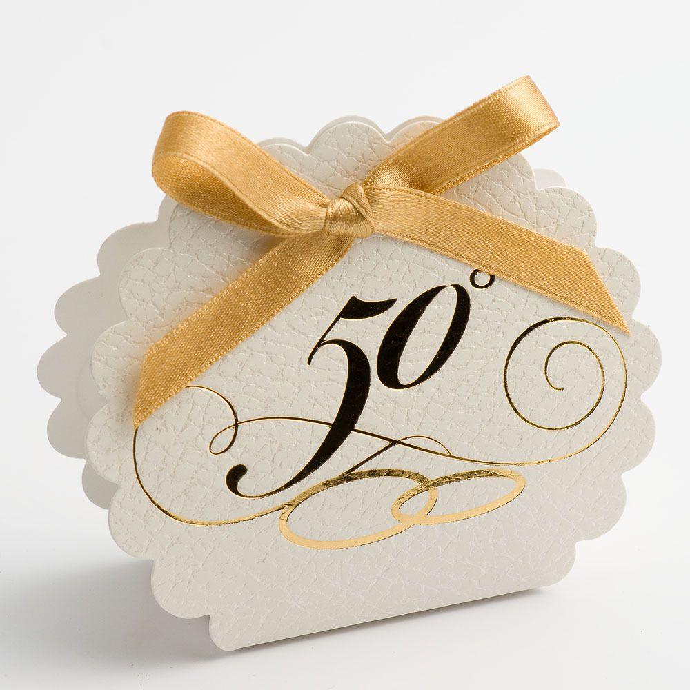 50th Golden Wedding Anniversary Favour Boxes Scalloped Edge + Ribbon