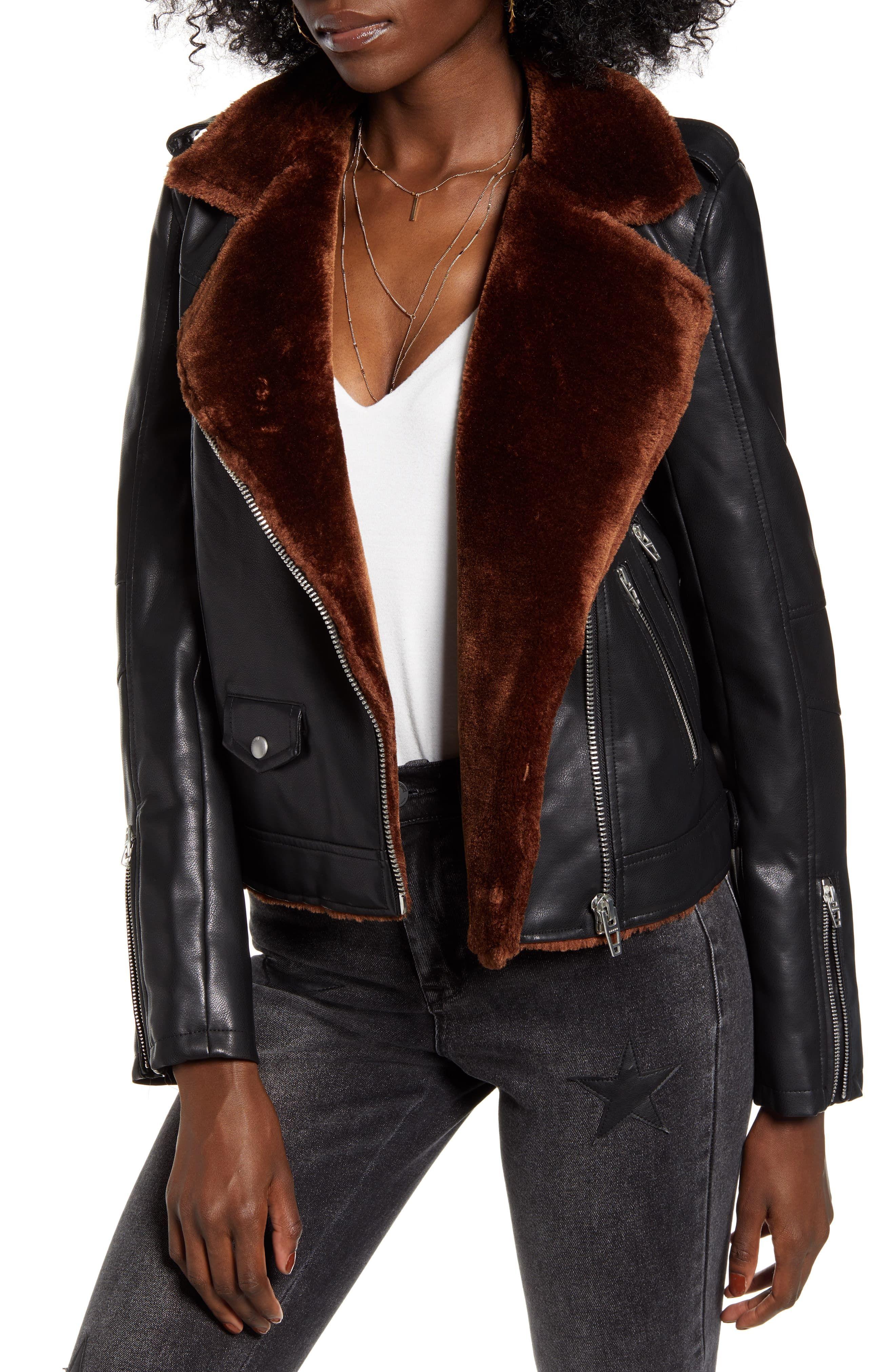 Women's Blanknyc Faux Fur & Faux Leather Moto Jacket, Size