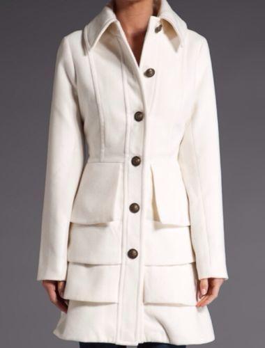 Anthropologie BB Dakota Clifton White Ivory Ruffle Peacoat Coat s Sold Out RARE | eBay