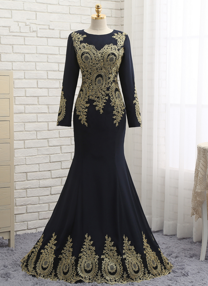 8d63e25240a Muslim Evening Dresses Mermaid Long Sleeves Chiffon Appliques Lace Elegant Long  Evening Gown Prom Dress Prom Gown