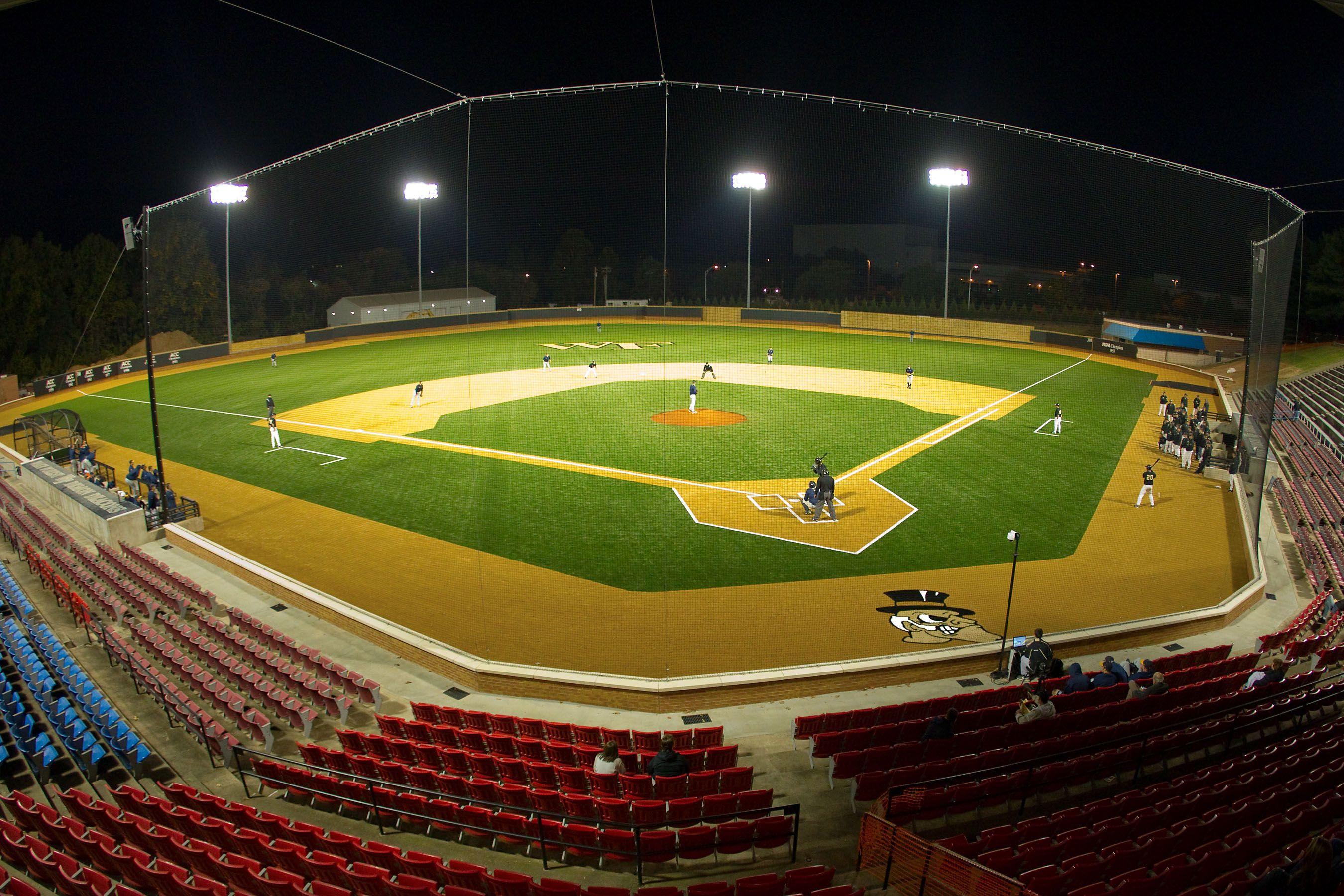 Wake Forest University Gene Hooks Field 127 925 Square Feet Of Astroturf Gameday Grass 3d60h Installed In Astro Turf Wake Forest University Baseball Field