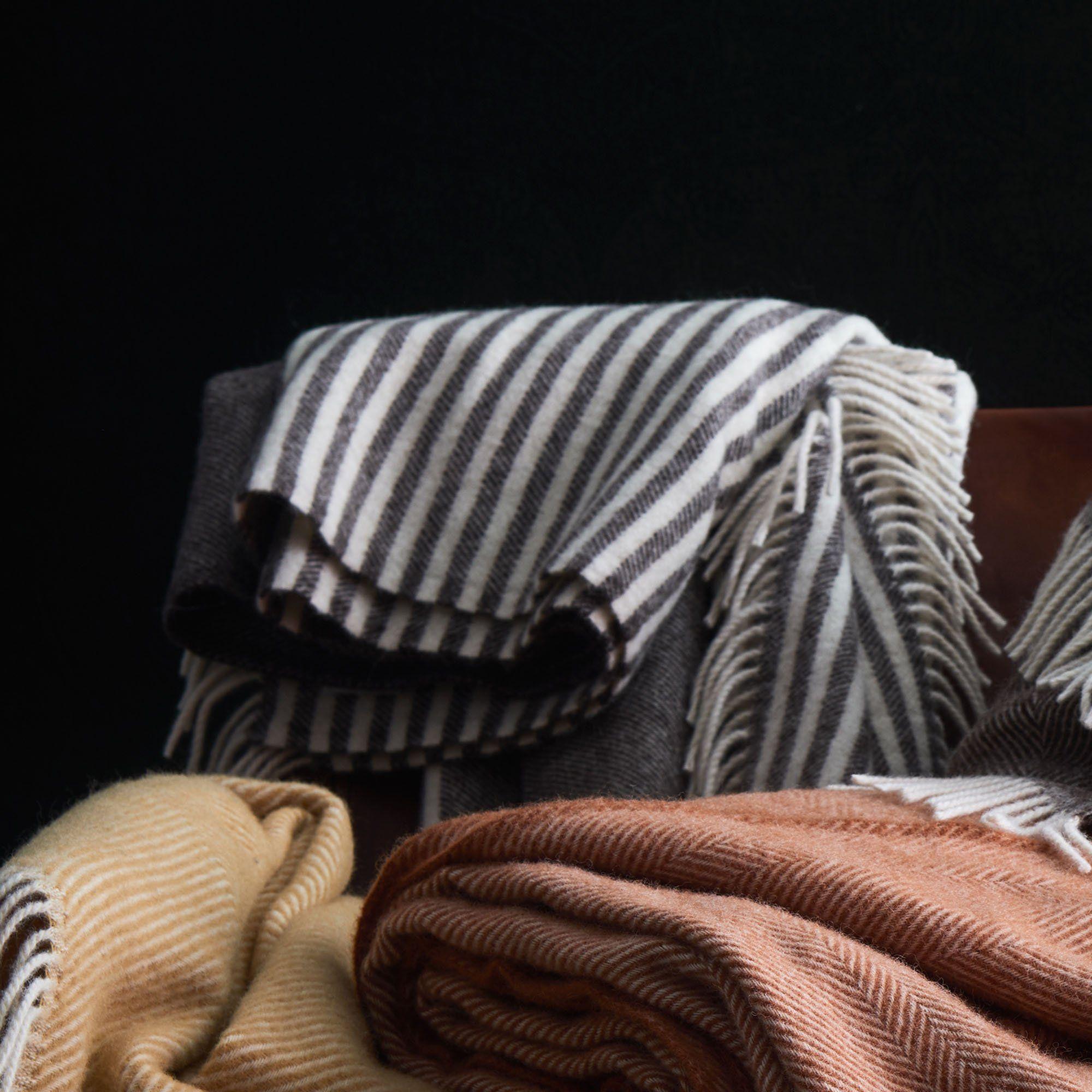 Wolldecke Visby Braun Creme 140x220 Cm Wolldecke Deckchen